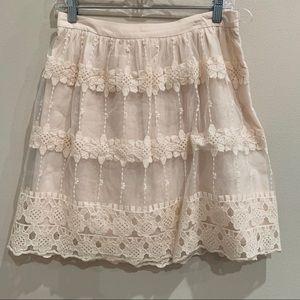 Sheer Overlay Tulle Embroidered Skirt
